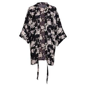 Black & White Floral Print Kimono